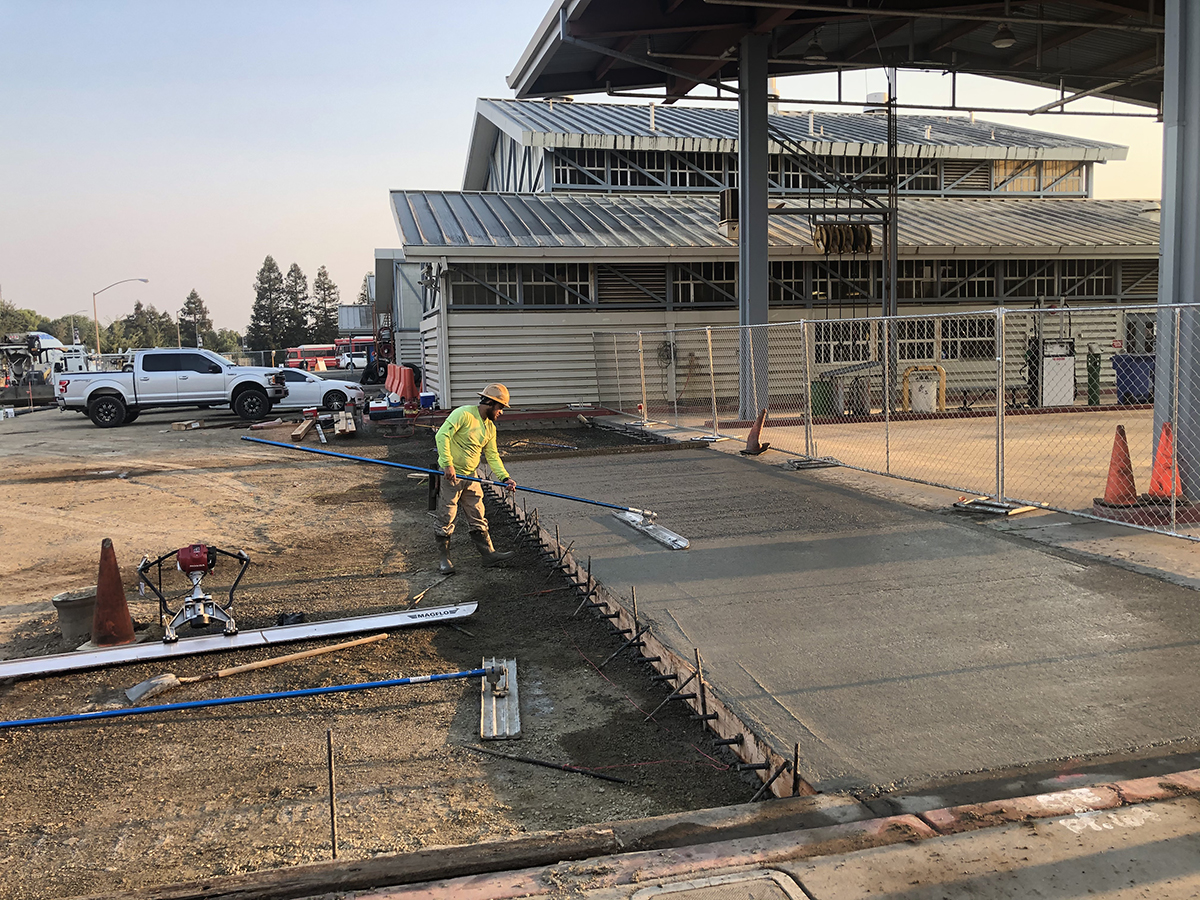 Concrete work underway at ASUCD Unitrans maintenance facility