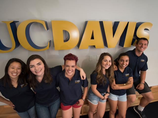 Students with UC Davis sign