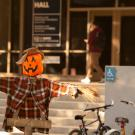 Scarecrow at Halloween in front of Bainer Hall
